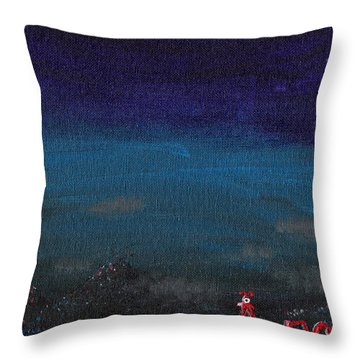 Red Cyclops Range Throw Pillow by Jera Sky