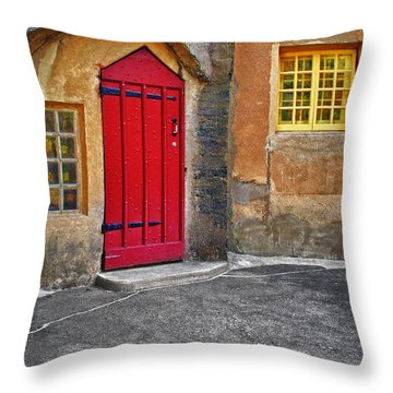 Red Door And Yellow Windows Throw Pillow by Susan Candelario