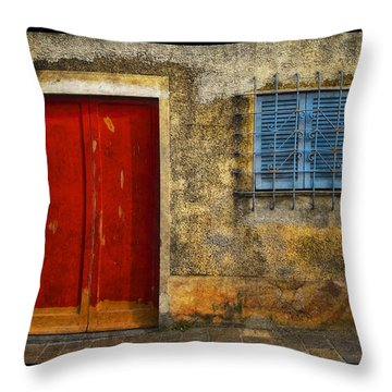 Red Doors Throw Pillow by Mauro Celotti