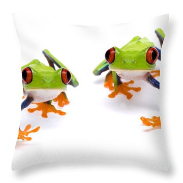 Red-eyed Treefrogs Walking Throw Pillow by Mark Bowler and Photo Researchers