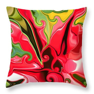 Red Fantasy Lily Throw Pillow