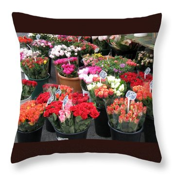 Red Flowers In French Flower Market Throw Pillow by Carla Parris
