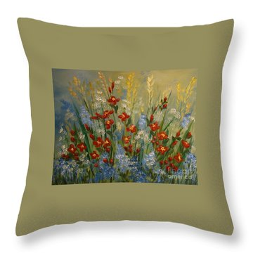 Red Flowers In The Garden Throw Pillow