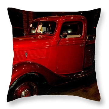 Red Ford Truck Throw Pillow by Susanne Van Hulst