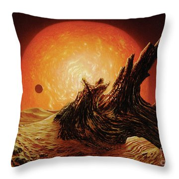 Red Giant Sun Throw Pillow by Don Dixon