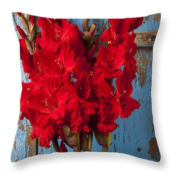Red Glads Against Blue Wall Throw Pillow by Garry Gay