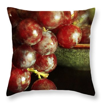 Red Grapes Throw Pillow by Darren Fisher