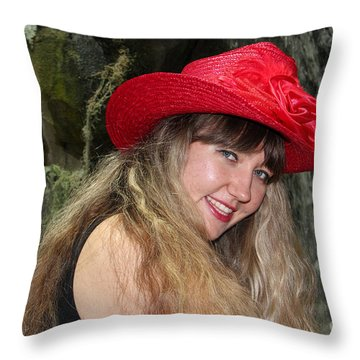 Red Hat And A Blonde Throw Pillow by Mariola Bitner