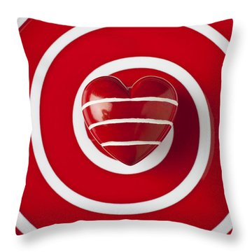 Red Heart Soft Stone Throw Pillow by Garry Gay