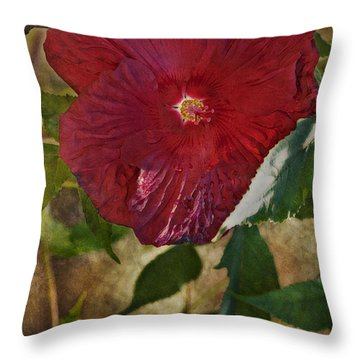 Red Hibiscus Throw Pillow by Bonnie Bruno