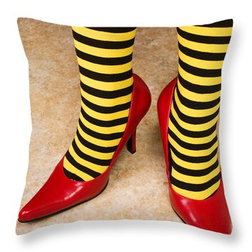 Red High Heels Andstockings Throw Pillow by Garry Gay