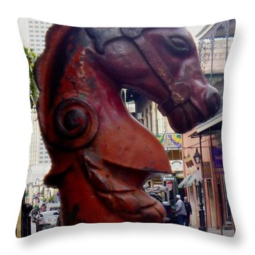 Throw Pillow featuring the photograph Red Horse Head Post by Alys Caviness-Gober
