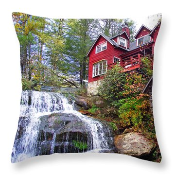 Red House By The Waterfall 2 Throw Pillow