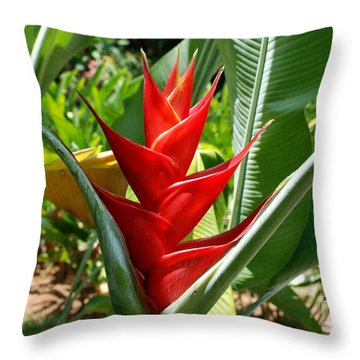Red In A Flower Throw Pillow by Pravine Chester
