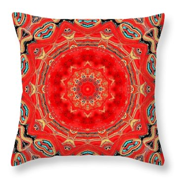 Throw Pillow featuring the painting Red Kalideoscope by Carolyn Repka