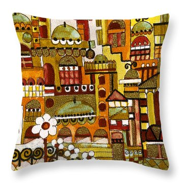 Red Kasba Skyline Landscape Art Of Old Town Dome And Minarett Decorated With Flower Arch In Orange Throw Pillow by Rachel Hershkovitz