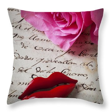 Red Lips On Letter Throw Pillow