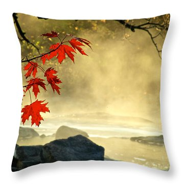 Red Maple Leafs In Fog Throw Pillow