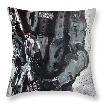 Red Marble Full Length Figure Portrait Of Swat Team Leader Alpha Chicago Police Full Uniform War Gun Throw Pillow by M Zimmerman MendyZ