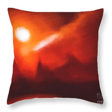 Red Mountains Throw Pillow by Pixel Chimp