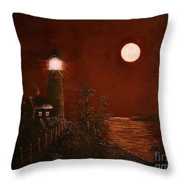 Red Night Throw Pillow by Barbara Griffin