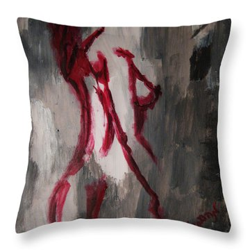 Throw Pillow featuring the painting Red Nude Young Female Girl In Shades Of Melting Grey Contemporary Modern Painting by M Zimmerman