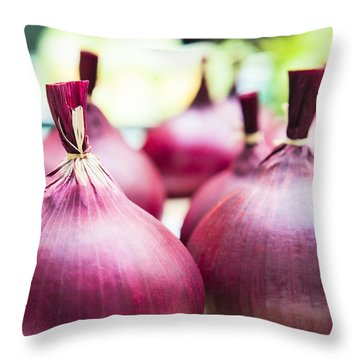 Red Onions Throw Pillow by Maj Seda