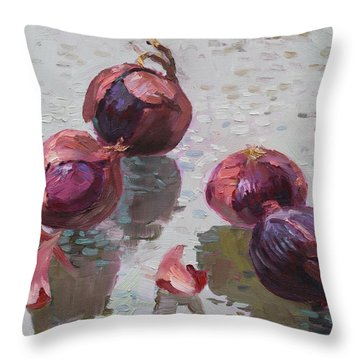 Red Onions Throw Pillow by Ylli Haruni