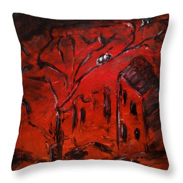 Throw Pillow featuring the painting Red Orange Yellow Sunset With Bird Nest Castle And Tree Silhouette by M Zimmerman