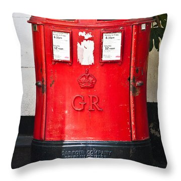 Red Post Box Throw Pillow by Dawn OConnor