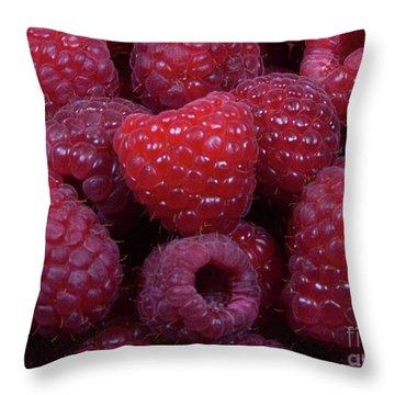 Red Raspberries Throw Pillow