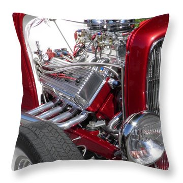 Red Roadster Hot Rod Fine Art Photo Throw Pillow by Sven Migot