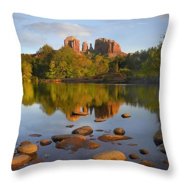 Red Rock Crossing Arizona Throw Pillow by Tim Fitzharris