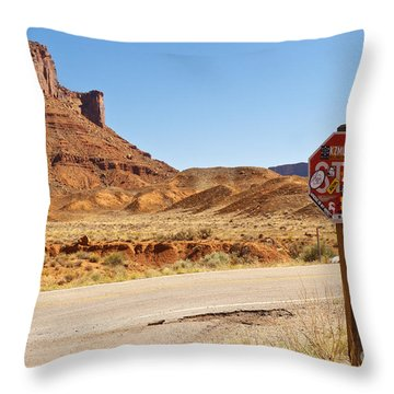 Red Rock Stop Throw Pillow by Bob and Nancy Kendrick