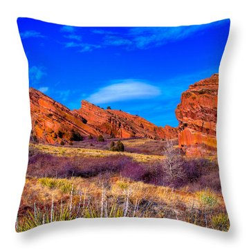 Red Rocks Park Colorado Throw Pillow by David Patterson
