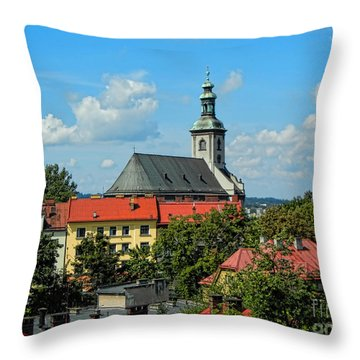 Red Roofed Wonders Throw Pillow by Mariola Bitner