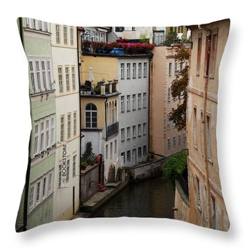 Red Rooftops In Prague Canal Throw Pillow