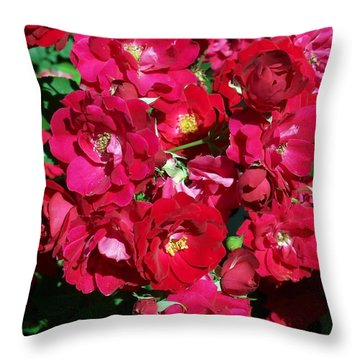 Red Rose Bush Throw Pillow