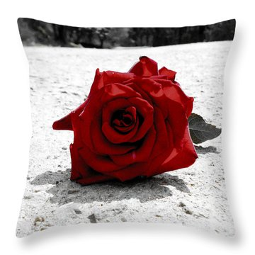 Red Rose On The Road Throw Pillow by Sumit Mehndiratta