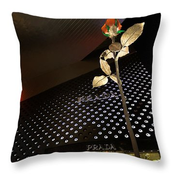 Red Rose Prada Throw Pillow by Nicholas  Grunas