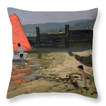 Red Sail Isle Of Wight Throw Pillow