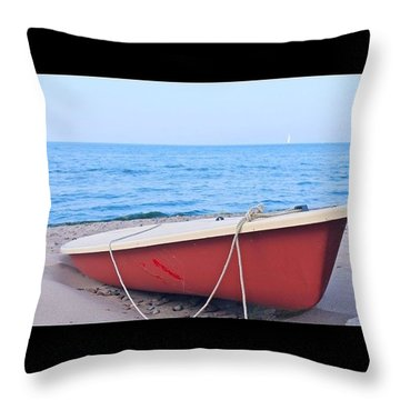 Red Sailboat On The Beach Throw Pillow