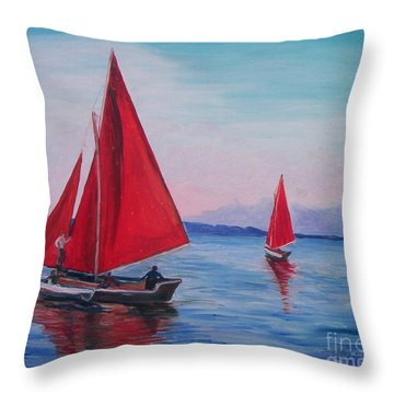 Throw Pillow featuring the painting Red Sails On Irish Coast by Julie Brugh Riffey