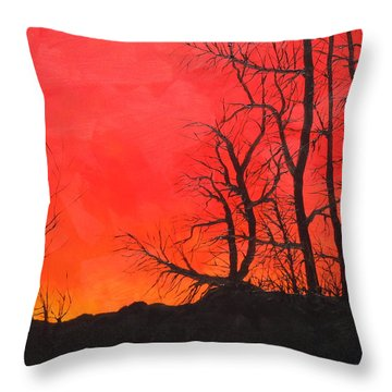 Throw Pillow featuring the painting Red Sky  by Dan Whittemore