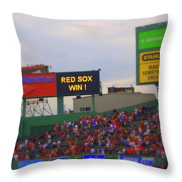 Red Sox Win Throw Pillow by Greg DeBeck