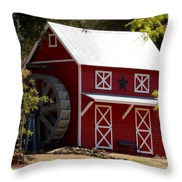 Red Star Barn Throw Pillow