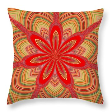 Throw Pillow featuring the digital art Red Star Brocade by Alec Drake