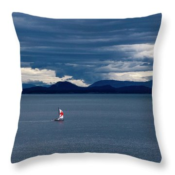 Throw Pillow featuring the photograph Red Star Sail by Lorraine Devon Wilke