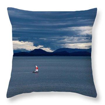Throw Pillow featuring the photograph Red Star Sail by Lorraine Devon Wilke