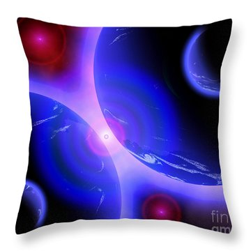 Red Stars And Blue Planets Mirrored Throw Pillow by Mark Stevenson